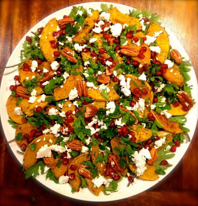 Roast Pumpkin, Kale & Pomegranate Salad